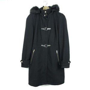 Ivanka Trump Black Faux Fur Trim Hooded Coat